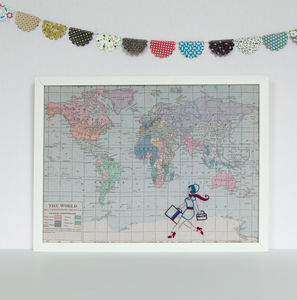 Retro Girl World Map Noticeboard - kitchen accessories