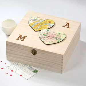 Two Personalised Map Hearts Valentine's Keepsake Box - storage & organisers
