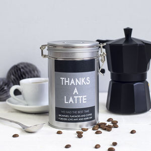 'Thanks A Latte' Personalised Coffee Gift Tin - thank you gifts