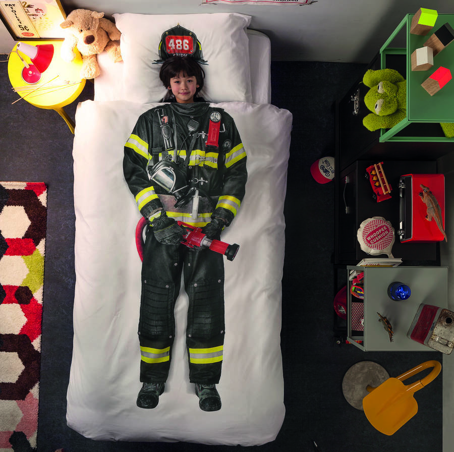 Kid's Firefighter Print Quilt Cover And Pillow Case Set