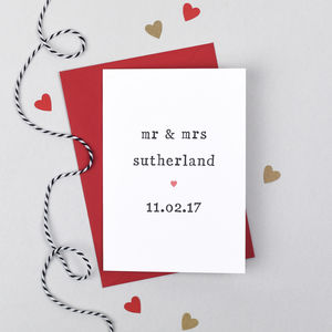 Personalised Mr And Mrs Wedding Or Anniversary Card - wedding cards & wrap