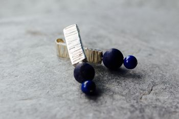 Textured Silver And Lapis Earrings