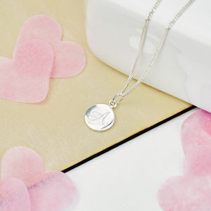Monogram Personalised Silver Mini Disc Necklace - wedding fashion