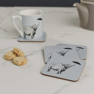 'Dougal' Scottish Highland Cow Set Of Four Coasters - tableware