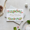 Personalised Family Christmas Card With Red Wreath