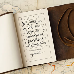 Personalised Small Brown Leather Travel Journal