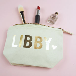 Personalised Name With Heart Make Up Bag - winter sale