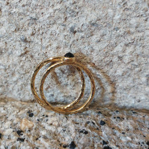 Hammered Fairtrade Gold And Black Sapphire Ring Set - engagement rings