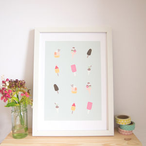 Ice Cream Illustrated Art Print - drawings & illustrations