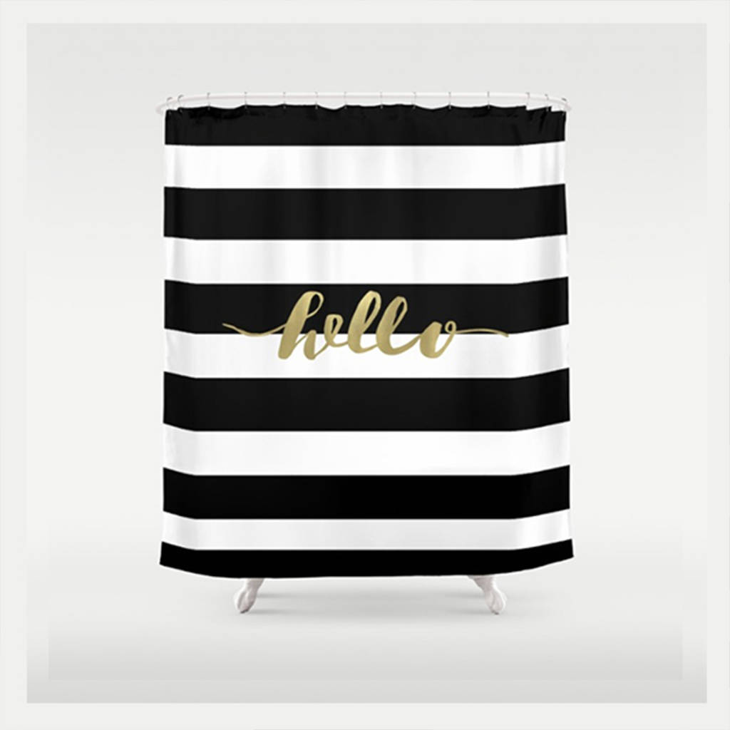 Black And Gold Fabric Shower Curtain By Ruby And B