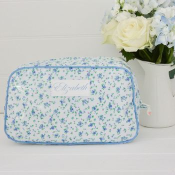 Blue Floral Personalised Wash Bag