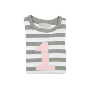 Age/Number T Shirt Grey Marl And White Mallow Number
