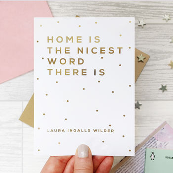 New Home 'The Nicest Word' Gold Foil Card
