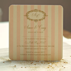 'Gold And Pink Wedding Invitations' - wedding stationery