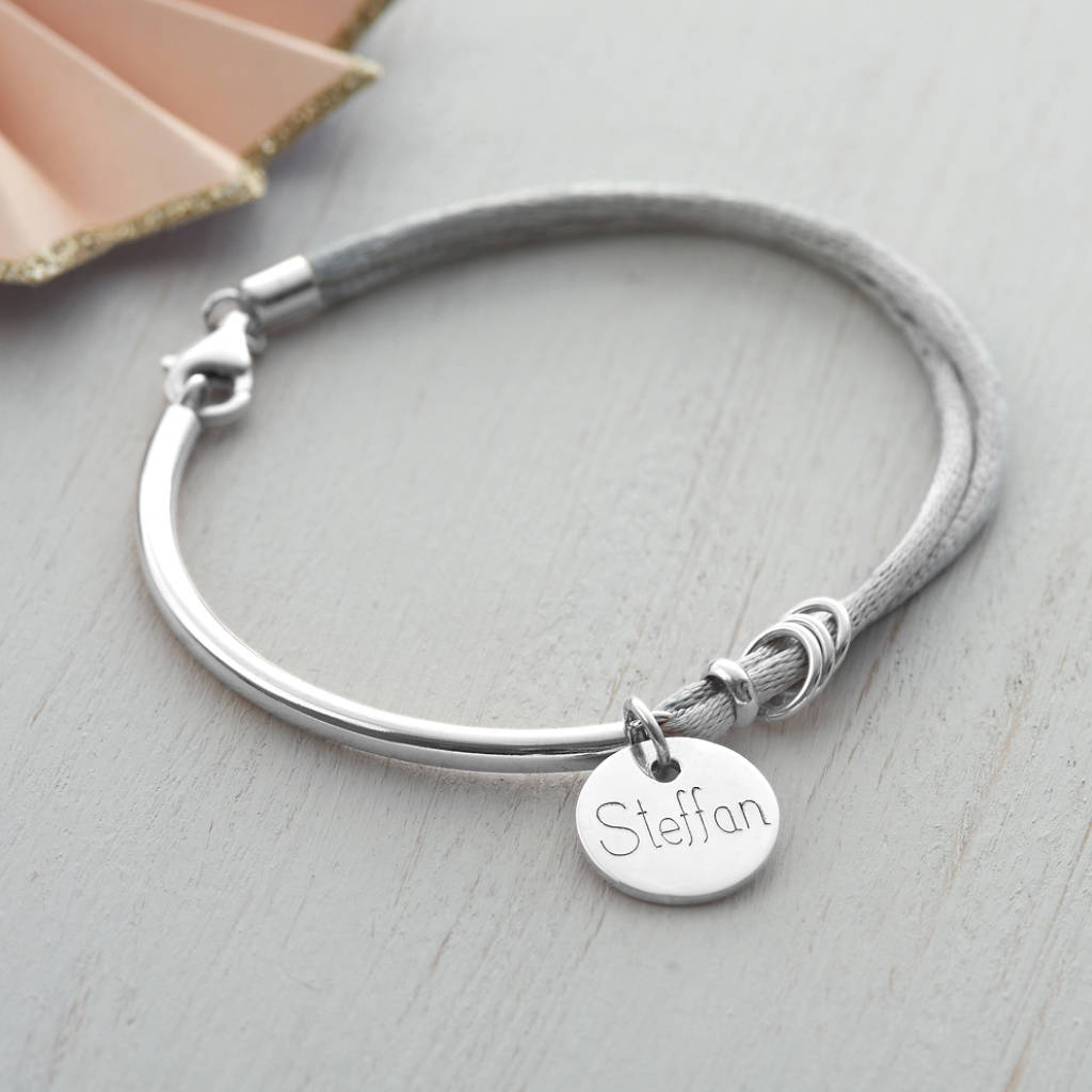 personalised silk and sterling silver charm bangle by