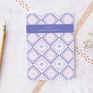 Patterned Anniversary Greeting Card