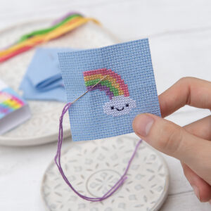 Kawaii Cloud Rainbow Mini Cross Stitch Kit