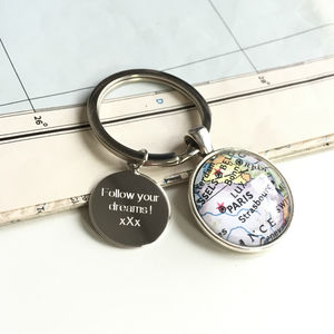 Personalised Location Map Keyring