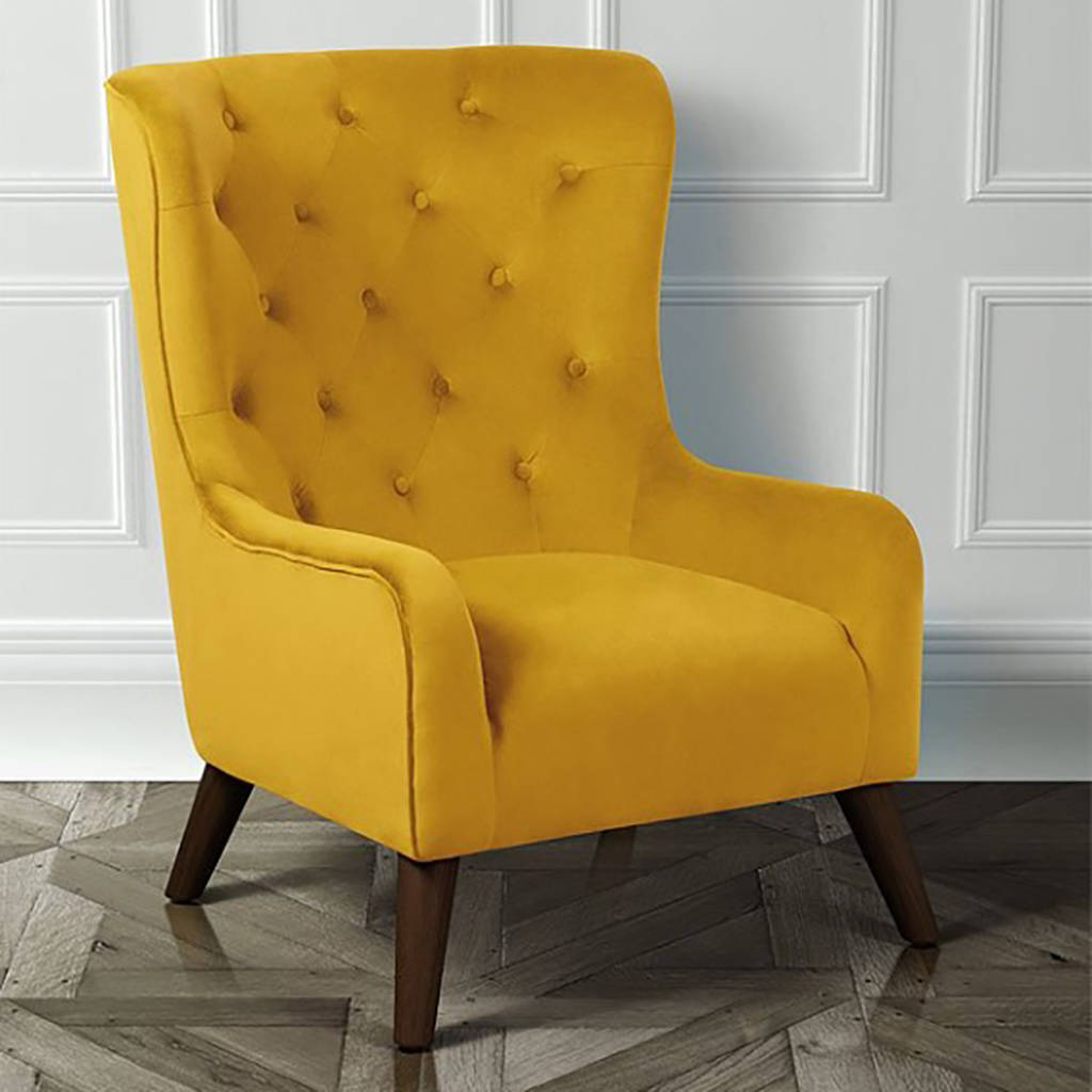 Classic Velvet Button Back Armchair By I Love Retro
