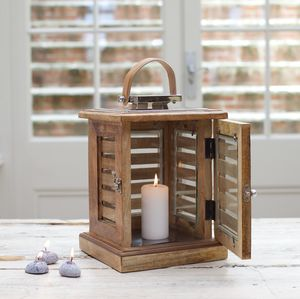 Nautical Wood Candle Lantern - new in home