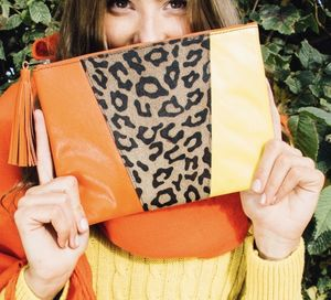 Leopard Print Orange And Yellow Tassel Clutch