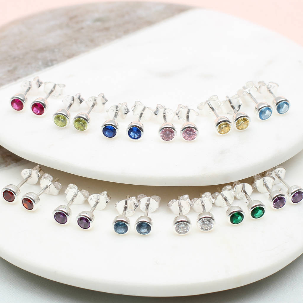 Sterling Silver Birthstone Earrings