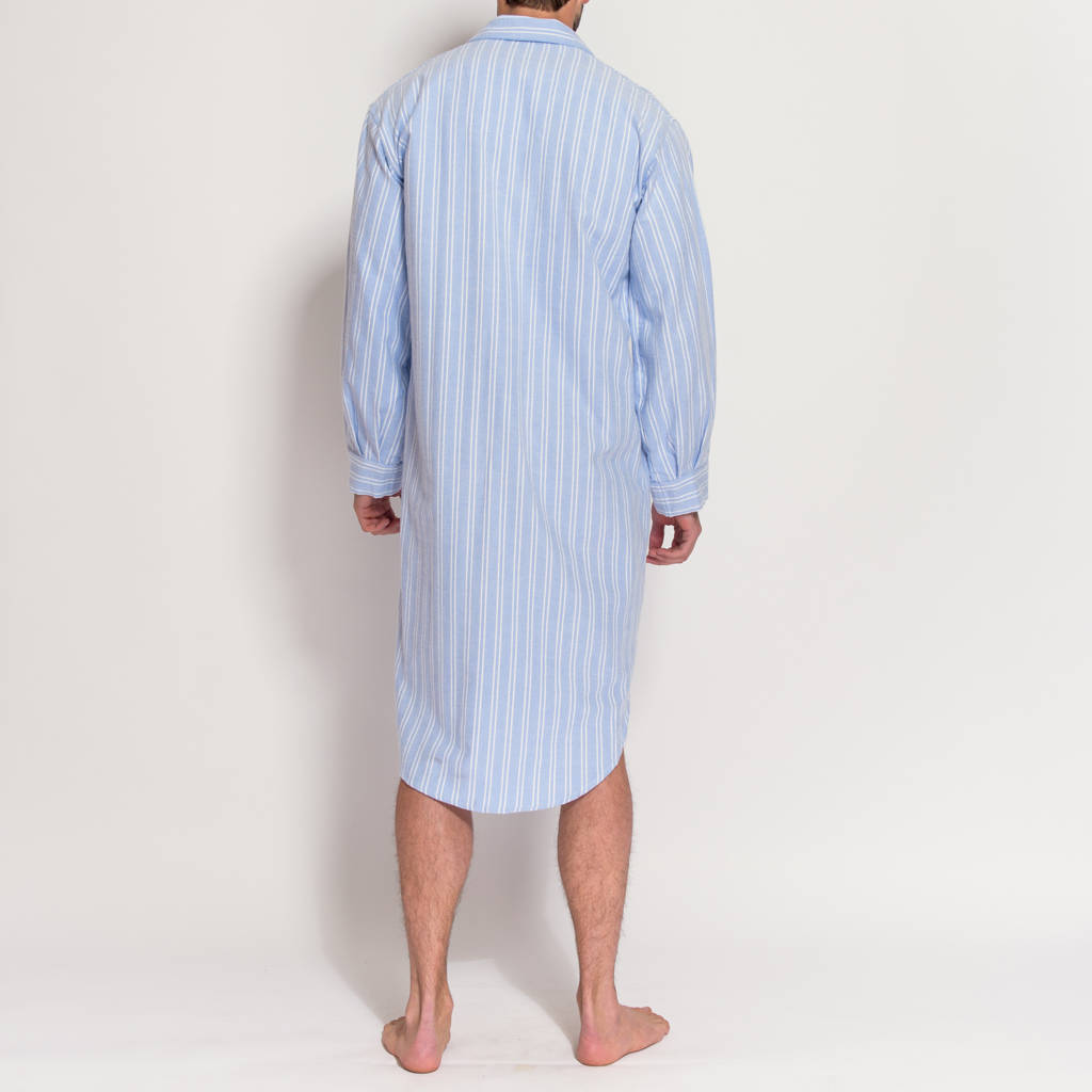 men s blue and white striped flannel nightshirt by british boxers ... 4e5f4f3f4