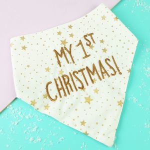 Happy First Christmas Baby Bib - baby's first christmas