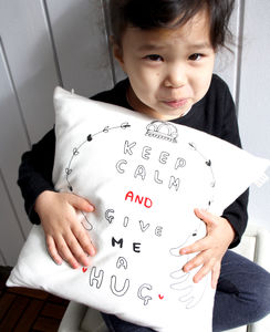 'Keep Calm And Give Me A Hug' Cushion Cover