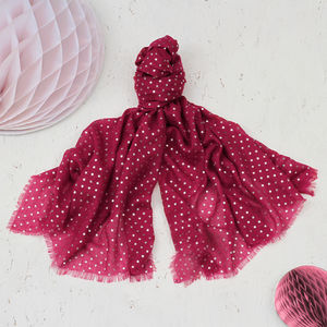 Limited Edition Cranberry Sparkle Star Scarf