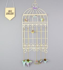 Personalised Birdcage Jewellery Hanger And Hooks Cream