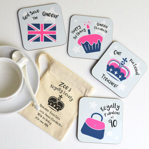 Queen's 90th Birthday Souvenir Coaster Set - tableware