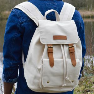 Desert Sand Columbus Canvas Backpack - men's accessories