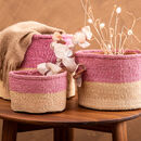 Dusky Pink And Sand Duo Colour Block Basket