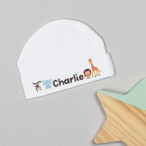 Personalised Animal Safari Baby Hat - babies' hats