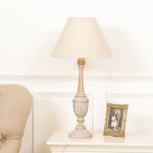 Carved Wooden Table Lamp - winter sale