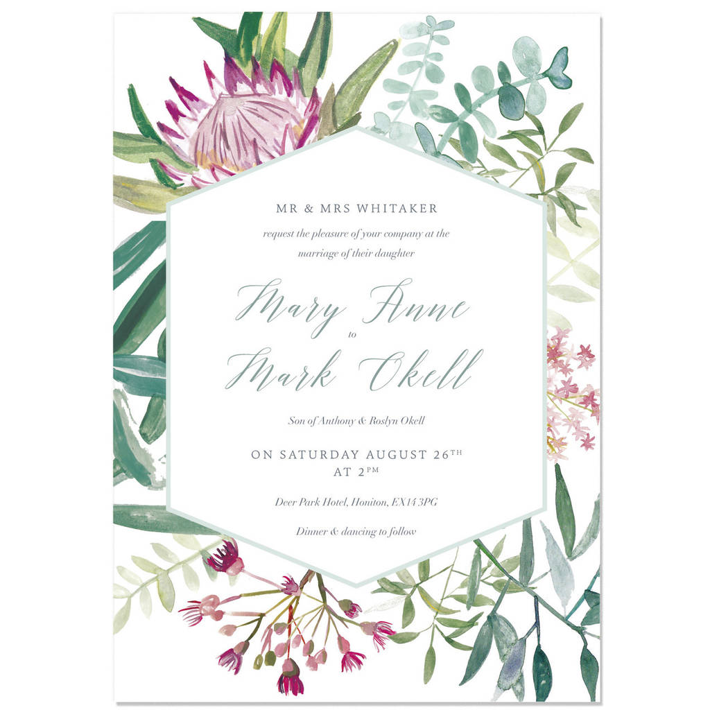 protea botanical wedding invite sample by hollyhock lane