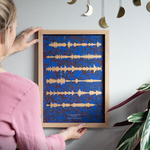 Gold Sound Wave Print On Marbled Paper
