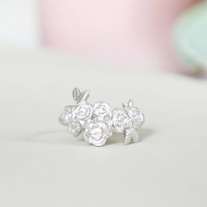 Personalised Sterling Silver Floral Cluster Ring