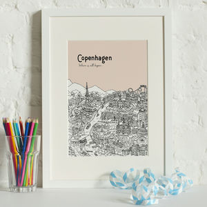 Personalised Copenhagen Print - maps & locations
