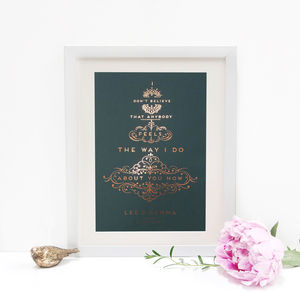 Personalised Gold Foiled Typography 'Song Lyrics' Print