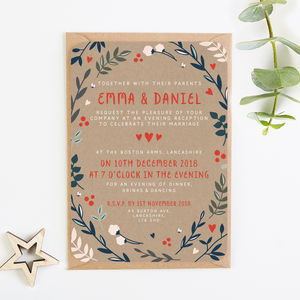Winter Kraft Branches And Berries Evening Invite - invitations