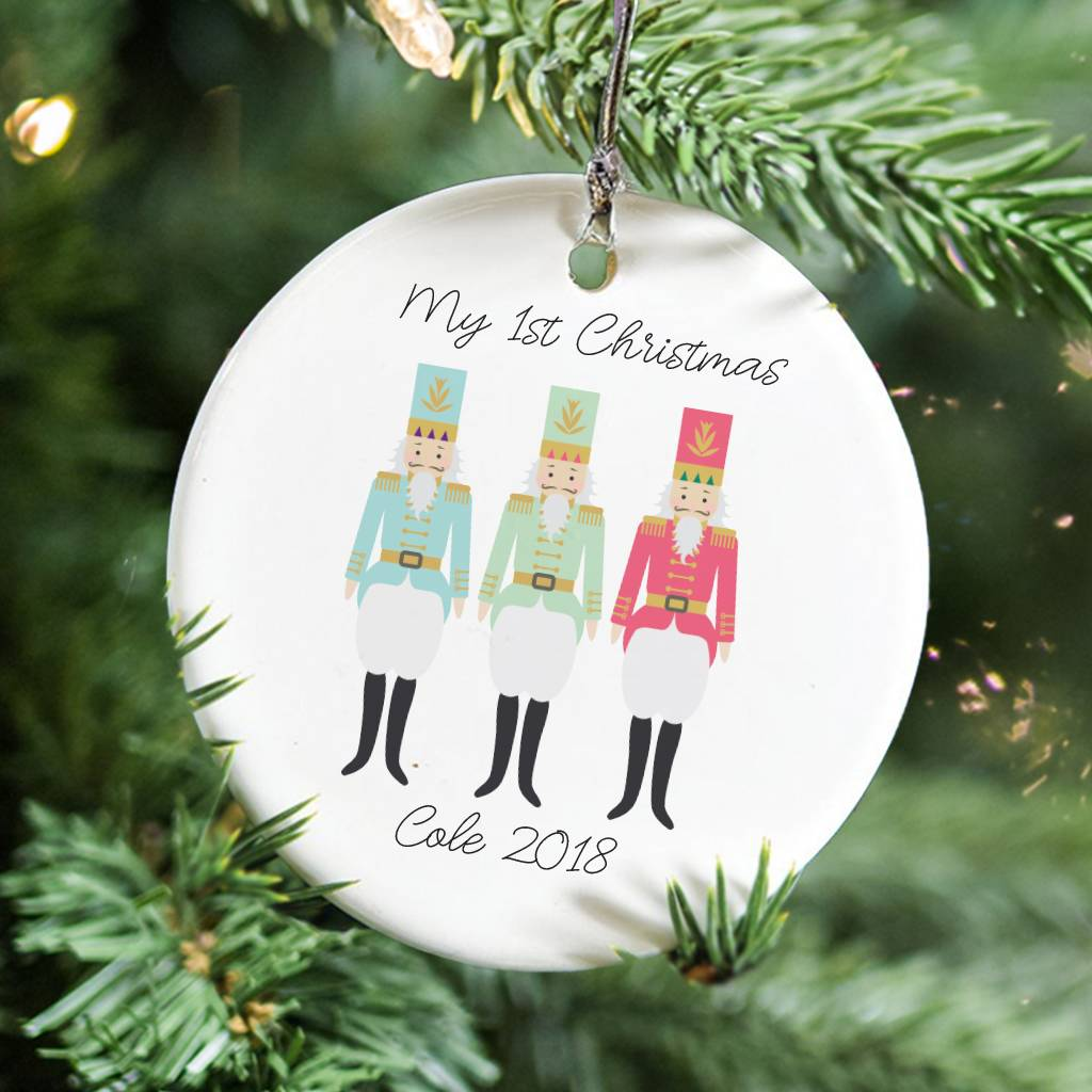Three Nutcracker Personalised Christmas Decoration