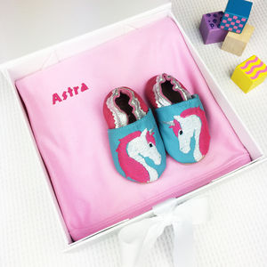 Personalised Unicorn Baby Shoes Gift Set - socks, tights & booties