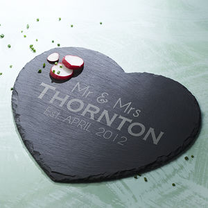 Slate Heart Personalised Serving Board - tableware