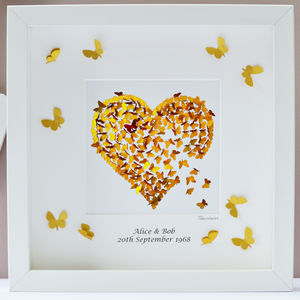 Golden Wedding Anniversary Print Wall Art - mixed media & collage