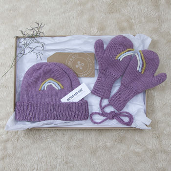 Rainbow Beanie And Mittens Baby Gift Set