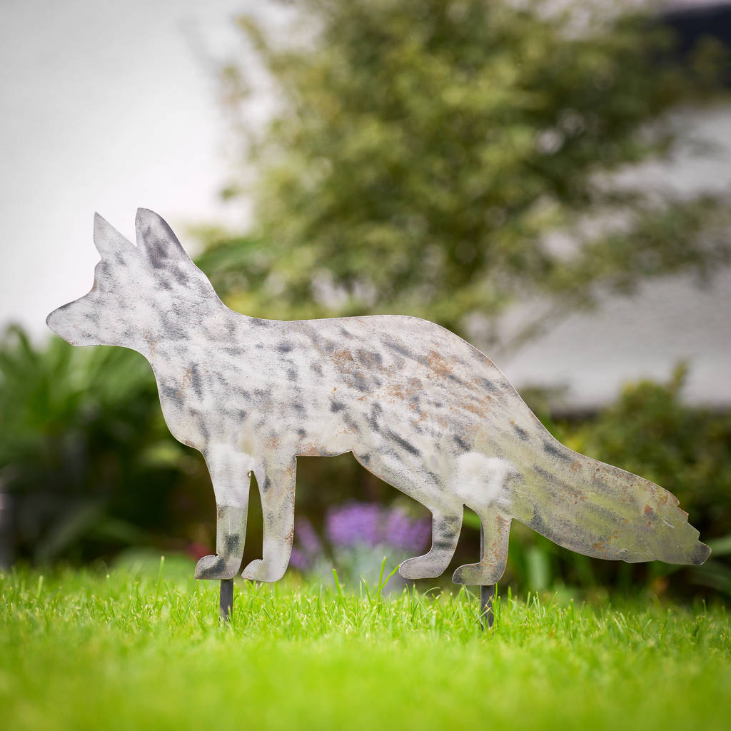 decorative metal fox garden stake by edgeinspired ...