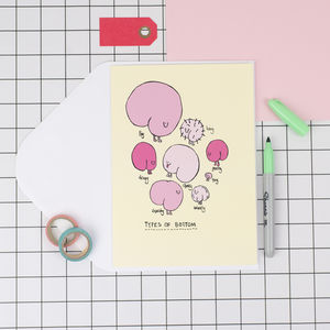'Types Of Bottom' Funny Birthday Card - funny cards