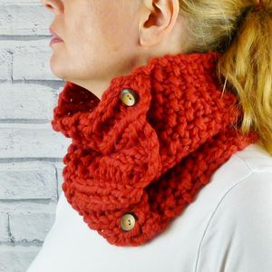 Hand Knitted Colourful Cowl - scarves